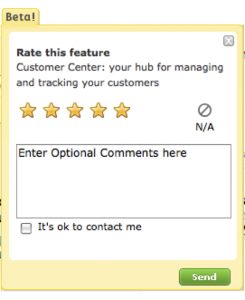 UI widget for customers to provide quality feedback.