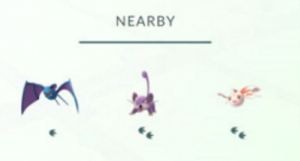 The nearby feature shows the number of steps to the closest Pokemon