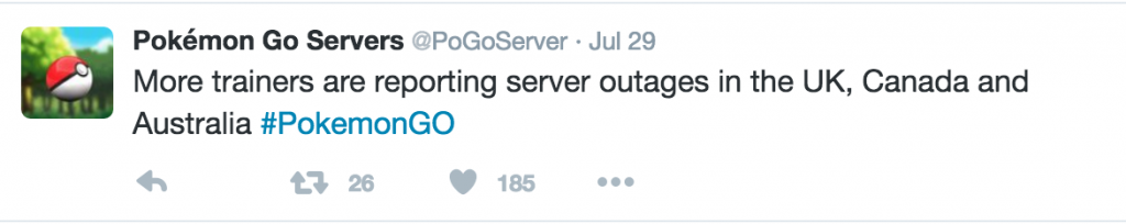 Pokemon Go Servers Tweet
