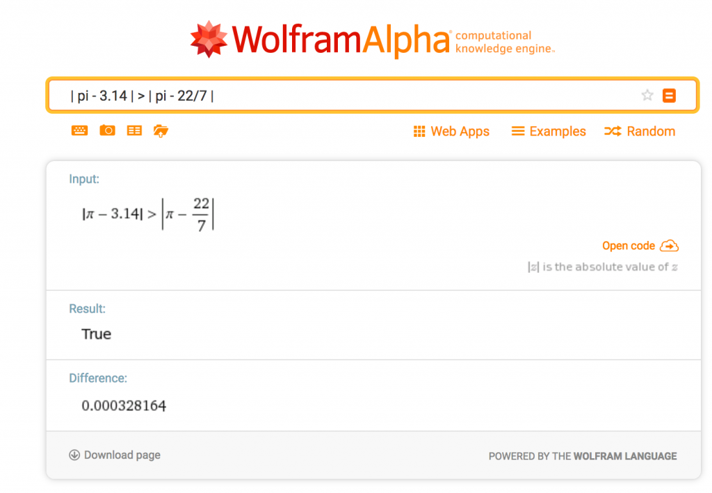 Comparing the US version of Pi day (3.14) to the European version (22/7) with Wolfram Alpha